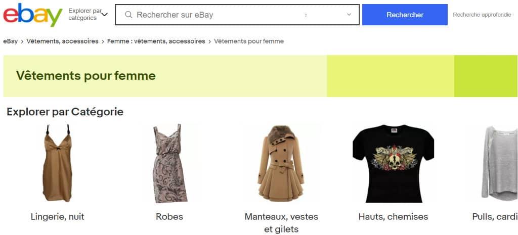 ebay : vêtements pour femme d'occasion